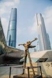 Teater för Guangzhou gränsmärkeGuangzhou tusen dollar Blått glass gardinfält, ett unikt utseende av teatern Arkivfoto