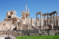 Teater forntida Roman City av Dougga, Tunisien Royaltyfri Foto