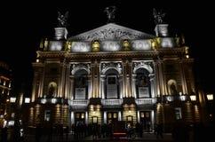 Teater i Lviv på natten Royaltyfri Fotografi