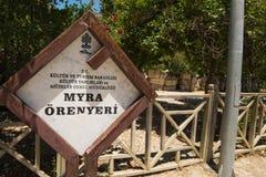 Teater i Myra den forntida staden av Antalya Arkivfoton