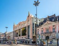 Teater som bygger nära fyrkant av Restauradores i Lissabon - Portugal Royaltyfri Fotografi
