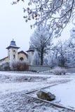 Teaterarenan nära parkerar ledsna Janka Krala, vinterlynnet, Bratislava arkivbild