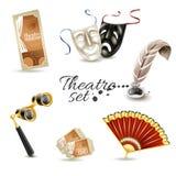 Teaterattribut sänker pictogramsuppsättningen Fotografering för Bildbyråer