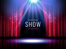 Teateretapp med den röda festliga mallen för gardin- och strålkastarevektor med ljus och plats Affischdesign för konsert royaltyfri illustrationer
