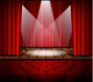 Teateretapp med en röd gardin vektor illustrationer