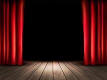 Teateretapp med trägolvet och röda gardiner stock illustrationer