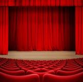Teatergardin på etapp med den röda illustrationen för platser 3d vektor illustrationer