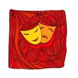 Teatern maskerar tragedikomedi - illustration royaltyfri illustrationer