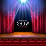 Teaterträetapp med den röda gardinen, strålkastare, platser Festlig mall för vektor med ljus och plats Affischdesign för royaltyfri illustrationer