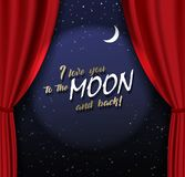 Teather stage with red heavy curtain with golden text and moon royalty free illustration