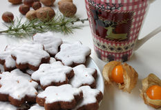 Teatime - τσάι με τα μπισκότα Χριστουγέννων Στοκ Εικόνες