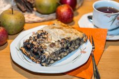 Teatime with apple and poppy seed strudel Royalty Free Stock Photo