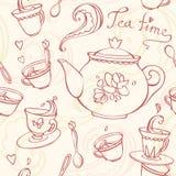 Teatime bezszwowy wzór z teapot i kubkami Zdjęcia Stock
