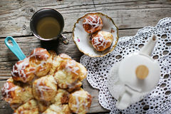 Teatime cake cinnamon sugar buns with tea, dessert or snack Stock Images
