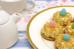 Teatime with coconut cakes Royalty Free Stock Photography