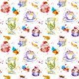 Teatime, der Muster wiederholt Kuchen des kleinen Kuchens, Tee, Kaffeetasse Lizenzfreie Abbildung