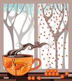 Teatime do outono Copo do chá no peitoril da janela ilustração royalty free