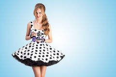 Teatime in dots. Royalty Free Stock Photo