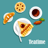 Teatime food with cup of tea, pastries and candies Royalty Free Stock Images