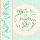 Teatime greeting card with mugs Royalty Free Stock Image