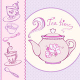Teatime greeting card with mugs Stock Image
