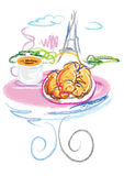Teatime in paris. Having a good teatime in paris royalty free illustration