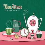 Teatime Party Card. Or Invitation vector design with a teapot  cup and saucer  milk jug  sugar sweets and cake together with a clock showing time for afternoon Royalty Free Stock Images