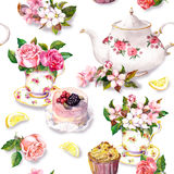 Teatime pattern: flowers, teacup, cake, teapot. Watercolor. Seamless background. Tea pattern with flowers cherry blossom, rose flower in tea cup, cake and tea stock photo