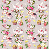 Teatime pattern: flowers, teacup, cake, teapot. Watercolor. Seamless background. Flowers in tea cup, cake and tea pot. Tea watercolor. Seamless pattern royalty free stock images