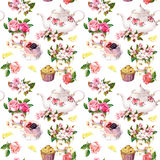 Teatime pattern: flowers, teacup, cake, teapot. Watercolor. Seamless background. Tea time pattern - floral cups with rose and cherry flowers, cake and tea pot stock image