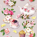 Teatime pattern: flowers, teacup, cake, teapot. Watercolor. Seamless background. Vintage tea pattern with flowers in tea cup, cake and tea pot. Floral watercolor royalty free stock images