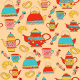 Teatime pattern with teapots and cups Stock Photo