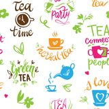 Teatime quote set vector lettering cup of tea vintage print tea time typography poster design teapot five o clock Royalty Free Stock Images
