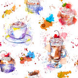 Teatime seamless background. Cupcake cakes, coffee cup. Stock Photo