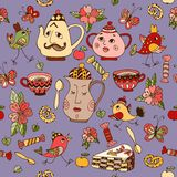 Teatime. Seamless pattern with hand drawn elements for tea party Stock Photo