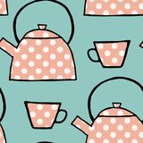 Teatime seamless pattern, pink polka dot teapots and cups on a blue background stock illustration