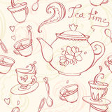Teatime seamless pattern with teapot and mugs Stock Photos