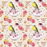 Teatime: tea pot, cup, cakes, rose flowers, bird. Seamless pattern. Watercolor. Teapot, tea cup, cakes, rose flowers and bird. Repeating tea party background Stock Photos