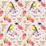 Teatime: tea pot, cup, cakes, rose flowers, bird. Seamless pattern. Watercolor Stock Photography