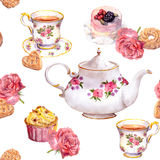 Teatime - tea pot, teacup, cakes, flowers. Repeating pattern. Watercolour Royalty Free Stock Photo