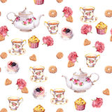 Teatime - teapot, tea cup, cakes, flowers. Seamless pattern. Watercolor. Teatime - tea pot, cup, cakes and flowers. Repeating pattern. Water color royalty free illustration
