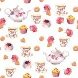 Teatime - tekanna, tekopp, kakor, blommor seamless modell vattenfärg royaltyfri illustrationer