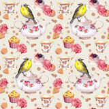 Teatime: tekrukan, koppen, kakor, steg blommor, fågel seamless modell vattenfärg stock illustrationer