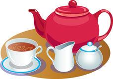 Tea pot with cup and saucer,sugar basin and milk jug. A vector illustration of a red teapot with a white cup and saucer, and a small milk jug and a sugar bowl Stock Photo