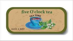 Teatimehintergrund, Fahne, Plakat, Ikone Lizenzfreie Stockfotografie