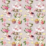 Teatimemodell: blommor tekopp, kaka, tekanna vattenfärg Seamless bakgrund Royaltyfria Bilder