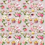 Teatimemodell: blommor tekopp, kaka, tekanna vattenfärg Seamless bakgrund Arkivfoto
