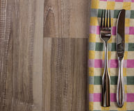 Teatowel with cutlery Stock Photo