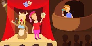 Teatrów aktorów horyzontalny sztandar, kreskówka styl ilustracji