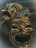 Teatr maski na aksamicie na popielatym backround Zdjęcia Stock